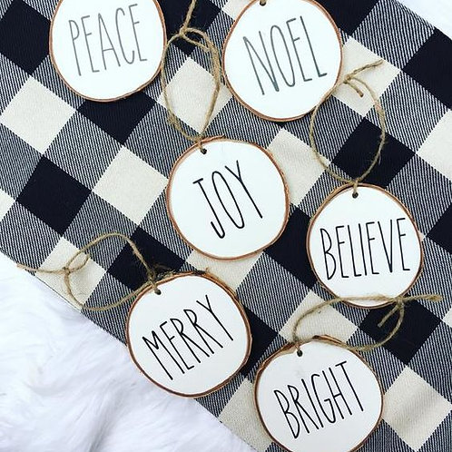 Wood Slice Word Ornaments (Set of 6/12))