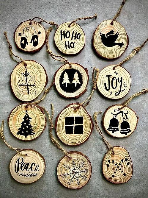 Wood Burned Ornaments (Set of 12)