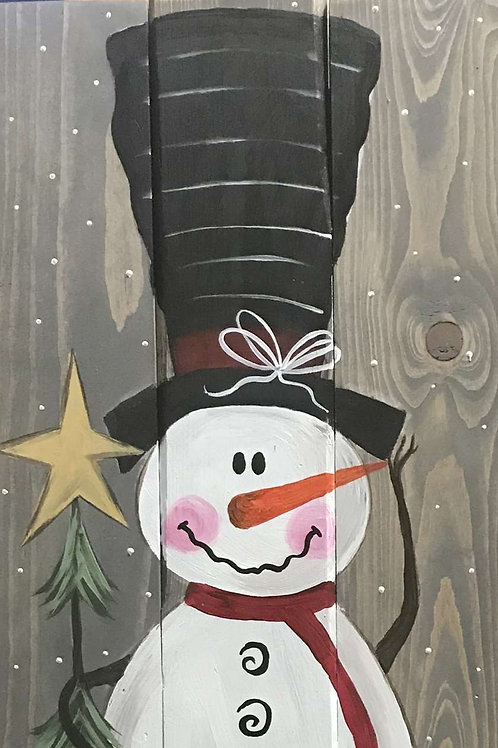 Wooden Snowman Painting
