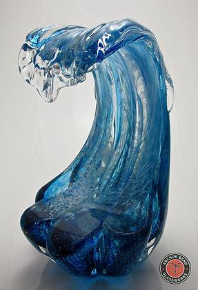 Blue Wave Sculpture hand blown glass art wave sculpture gift anchor bend glassworks art newport ri made in usa