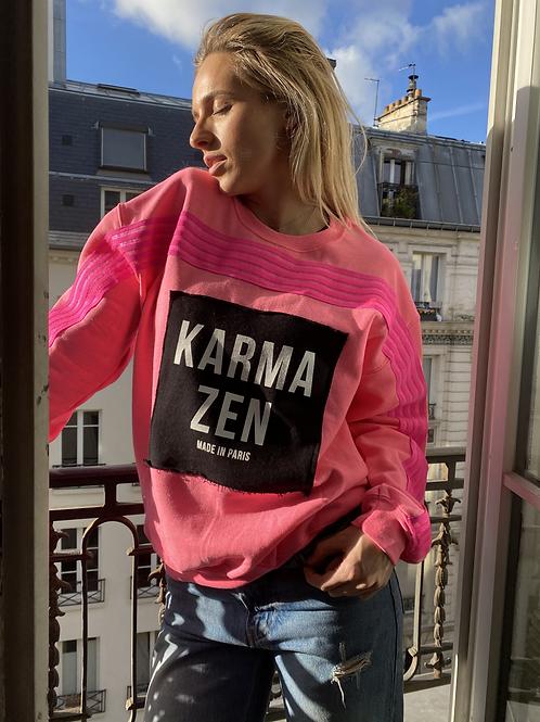 Sweatshirt Fluo Strap Fleece Pink