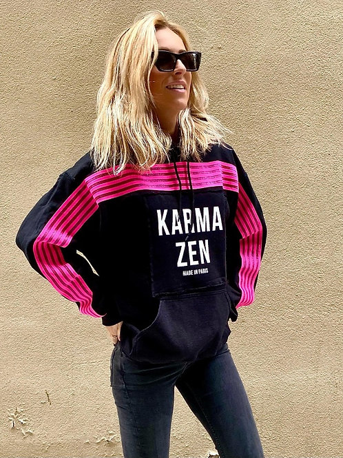 Hoodie Fluo Strap Fleece Black/Patch Karma Zen