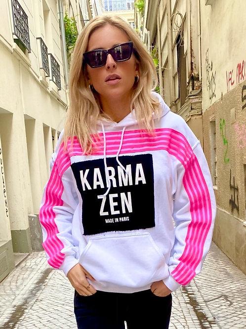 Hoodie Fluo Strap Fleece White/Patch Karma Zen