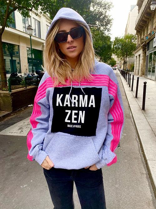 Hoodie Fluo Strap Fleece Grey/Patch Karma Zen