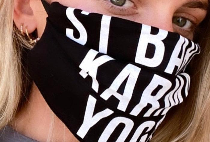 St Barth Karma Yoga Zen Logo Fabric Face Mask Black