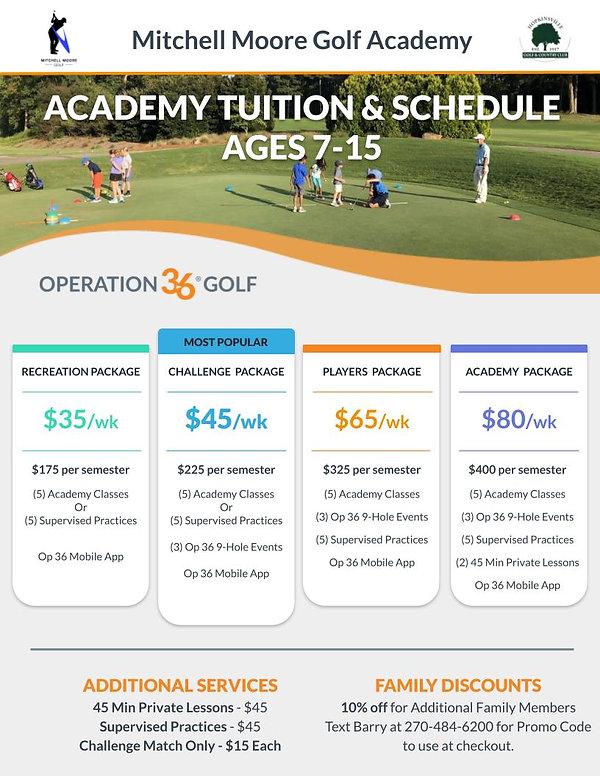 Junior Academy Tuition & Schedule Page 1