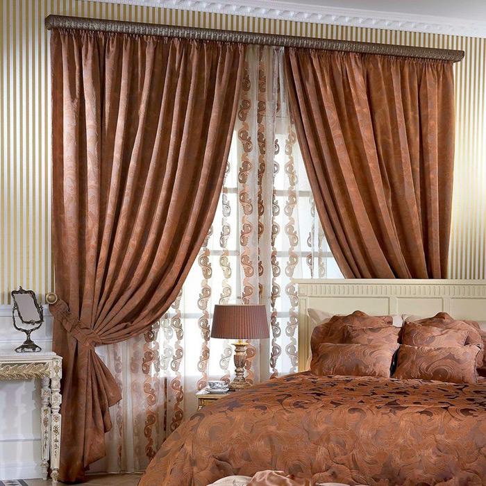 спальня шторы в цвет картинки можем наблюдать