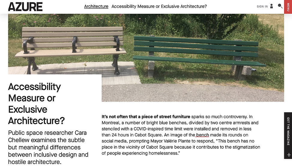"Image of two benches and first paragraph of article ""Accessibility Measure or Exclusive Architecture?"""