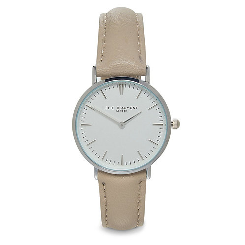 Elie Beaumont London: Oxford Small Silver Case Stone Watch