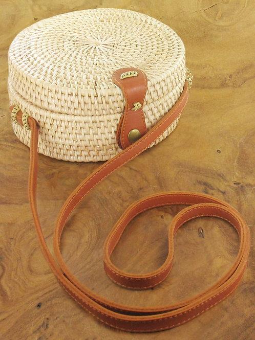 Suzie Blue: Natural Round Basket Bag