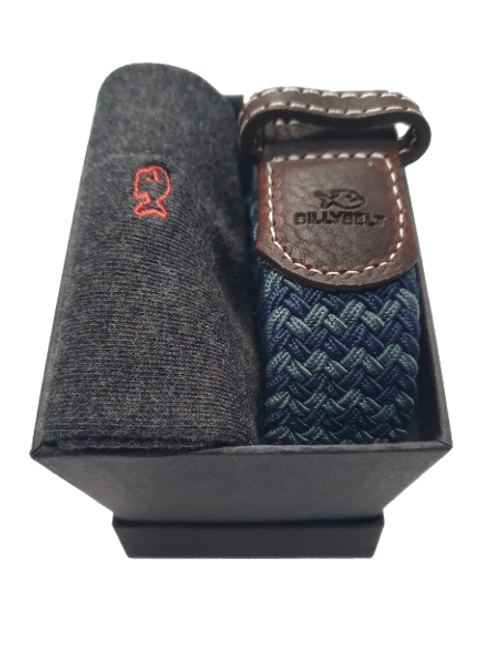 Billy Belt Grey Socks & The Canberra Belt Gift Set (Black Box)