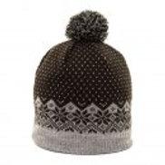 Children's Black & Grey Knitted Ski Hat - Fleece lined