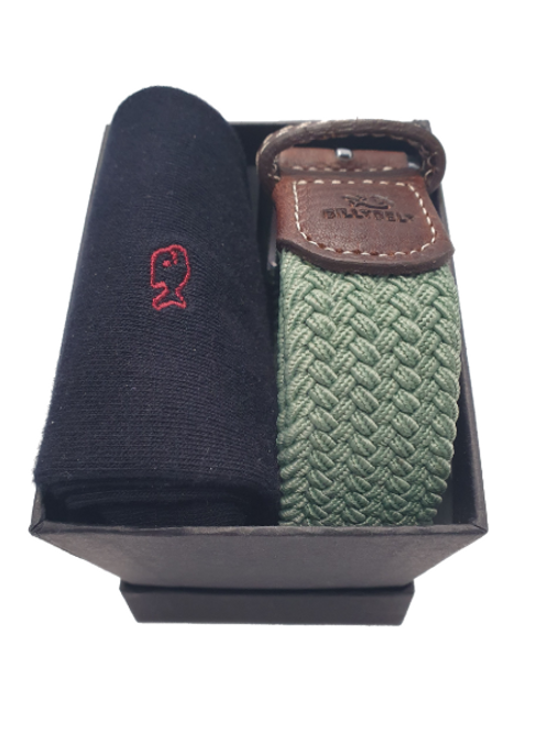 Billy Belt Black Socks & Almond Green Belt Gift Set (Black Box)