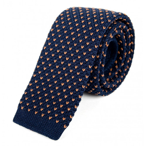 Billy Belt Cotton Knit Tie - Navy & Camel