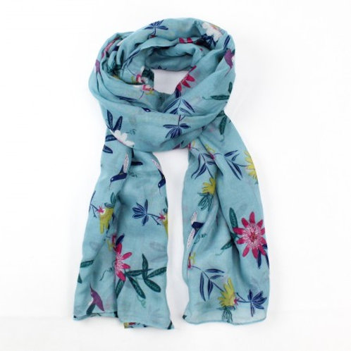 Passion Flower Light Blue Scarf by Hazel & Pip Cornwall