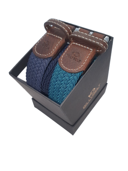 Christmas Billy Belt Gift Box - Navy & Caribbean Blue - Size 1