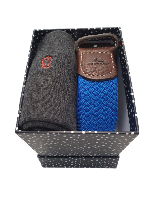 Grey Sock & Azure Blue Belt Gift Set (Snowy Box)