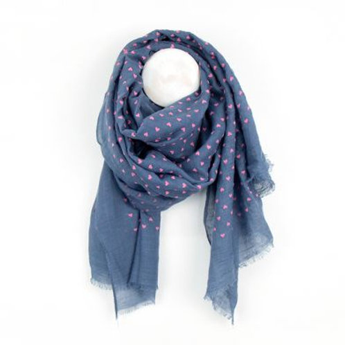 Blue Scarf with Pink Flock Hearts