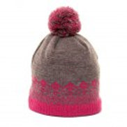 Children's Grey & Pink Knitted Ski Hat - Fleece lined