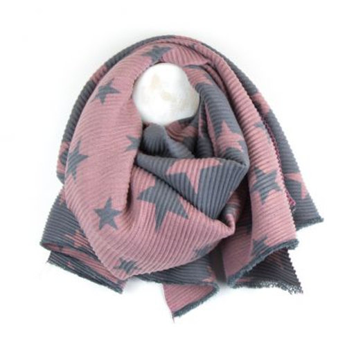 Reversible Pink & Grey Pleated Star Scarf