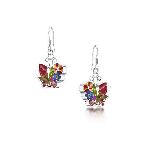 Shrieking Violet - Mixed flower Butterfly Silver Earrings