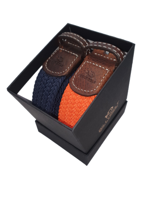 Billy Belt Gift Box - Navy & Apricot Orange - Size 1