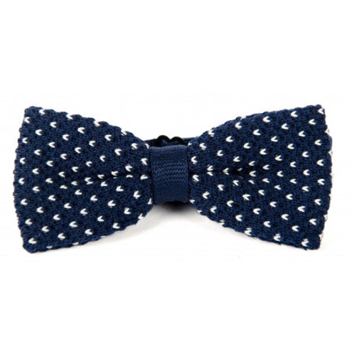 Cotton Knit Bow Tie - Navy & White