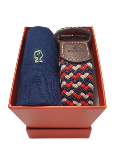 Billy Belt Navy Sock & The Amsterdam Belt Gift Set (Red Box)