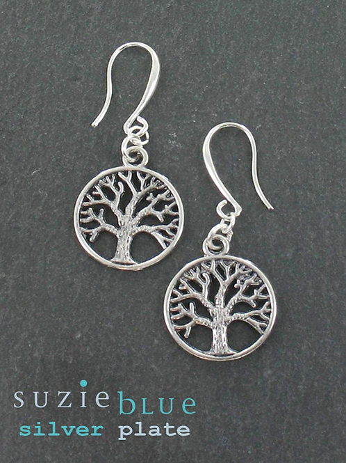 Suzie Blue: Silver plated Tree of Life Charm Earrings
