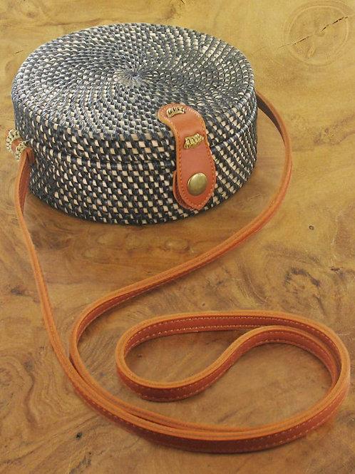 Suzie Blue: Black Round Basket Bag
