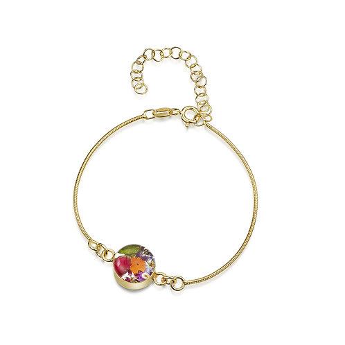 Shrieking Violet - Gold plated Stirling Silver Mixed Flower Bracelet