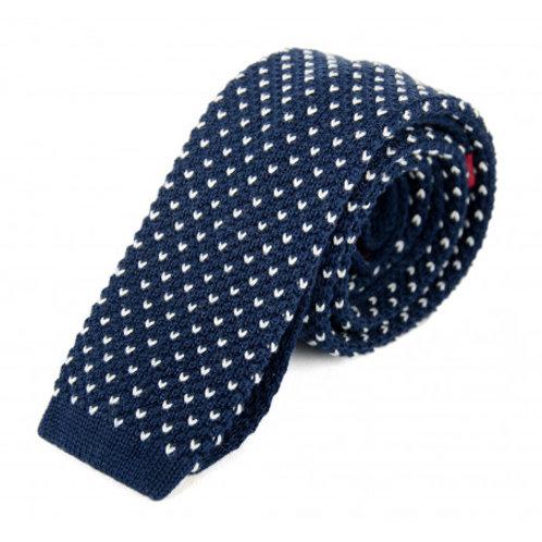Billy Belt Cotton Knit Tie - Navy & White