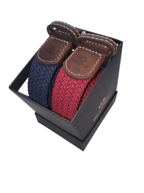 Billy Belt Gift Box - Navy & Burgundy Leaf - Size 1