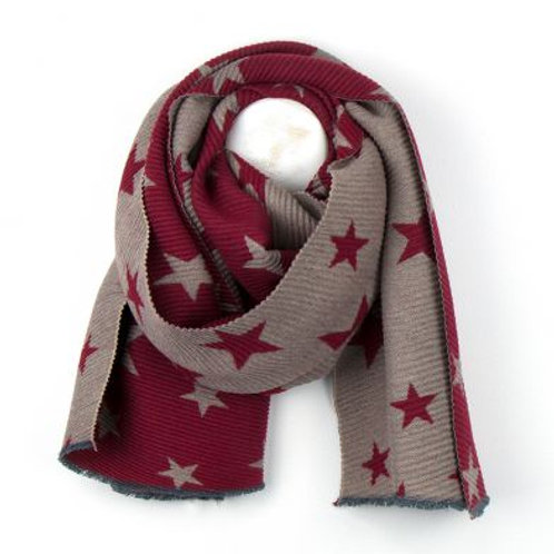 Red & Grey Pleated Scarf