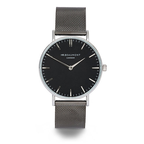 Mr Beaumont Silver Mesh/Black Dial Watch