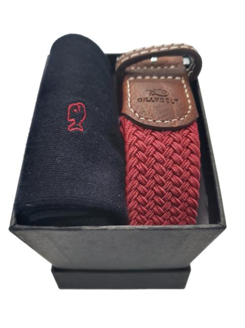 Billy Belt Black Socks & Burgundy Belt Gift Set (Black Box)
