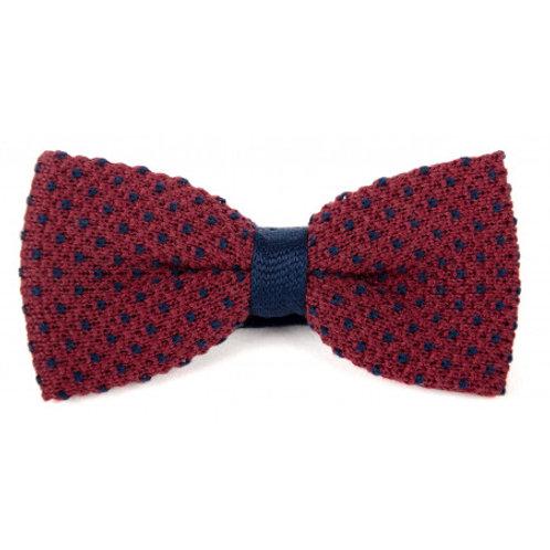 Cotton Knit Bow Tie - Burgundy & Blue