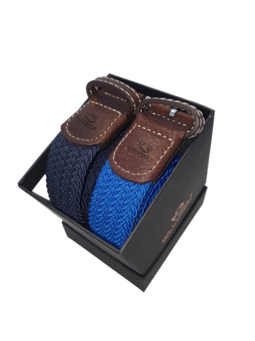 Christmas Billy Belt Gift Box - Navy & Azure Blue - Size 1