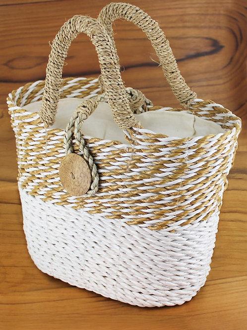 Suzie Blue: Sea grass Basket Bag with Coconut Button