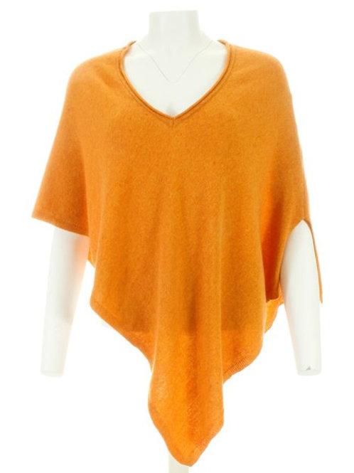 Italian Cashmere Blend V Neck Poncho - Tangerine