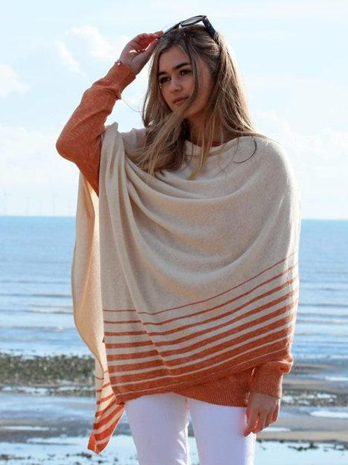 Italian Cotton Border Stripes Poncho