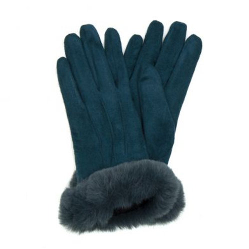 eal Lined Gloves With Faux Fur Trim