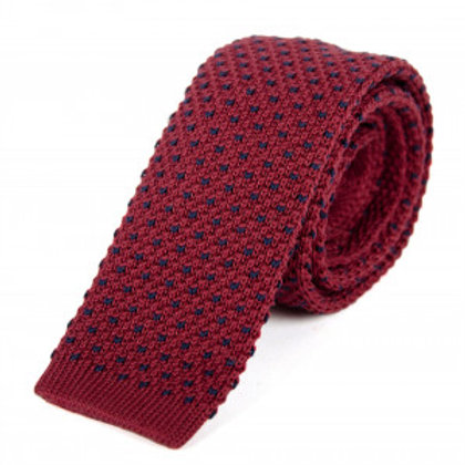 Billy Belt Cotton Knit Tie - Burgundy & Blue