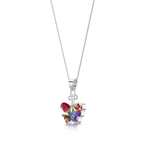 Shrieking Violet - Mixed flower Butterfly Silver Necklace
