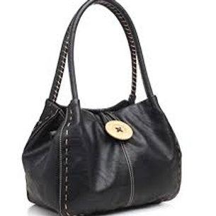 Button Shoulder Bag Black