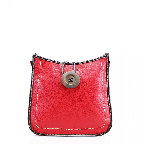 Button Cross Body Bag Red