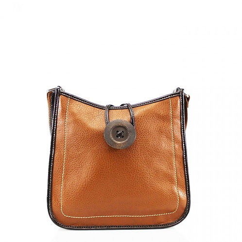 Button Cross Body Bag Brown