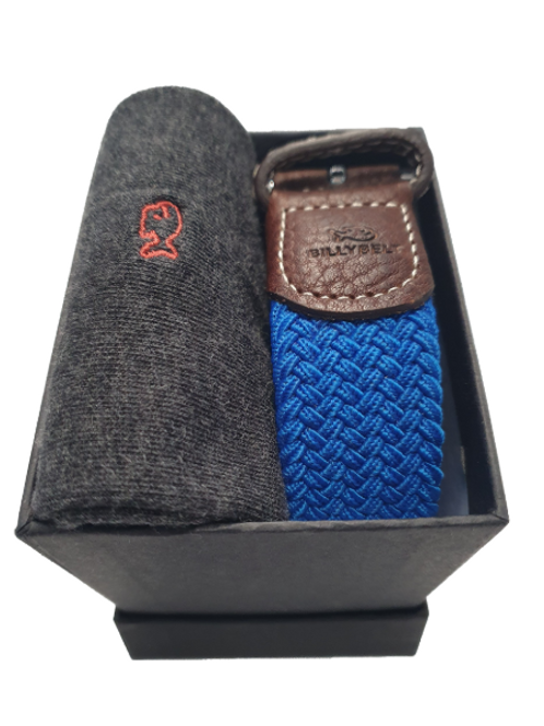 Billy Belt Grey Socks & Azure Blue Belt Gift Set (Black Box)