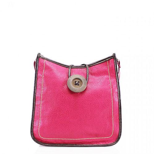 Button Cross Body Bag Fuschia