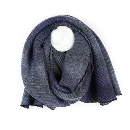 Blue Mix Ombre Pleated Scarf